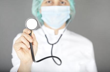 Nurse in white uniform with stethoscope