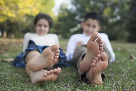 boy barefoot: Relaxing children in the nature