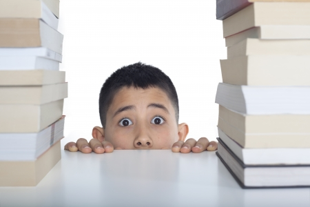 Worry student with books