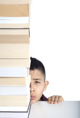 Worry student face and books Stock Photo