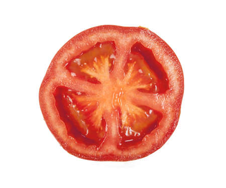 Slice of tomato isolated on white Stock Photo