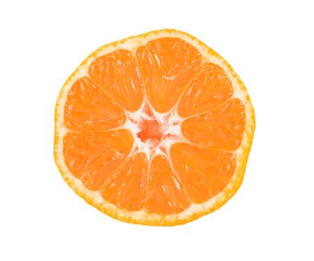 Slice of mandarin isolated on white Stock Photo