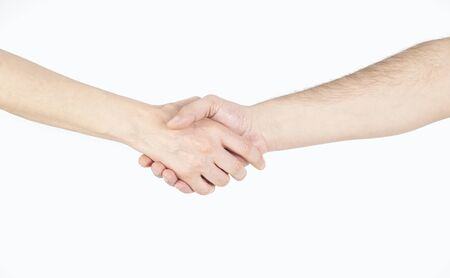 Hand shake between a man and a woman