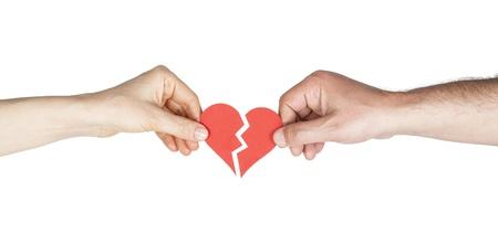 L'uomo e la donna mani azienda cuore spezzato