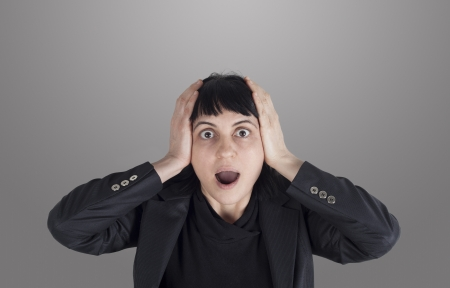 horrified: Stressed woman Stock Photo