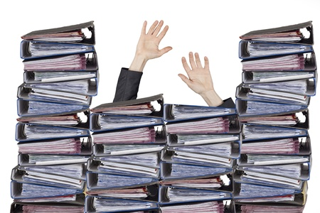 Busy officer hands with files Stock Photo