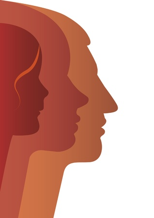 woman face profile: Vector silhouette of happy family Illustration