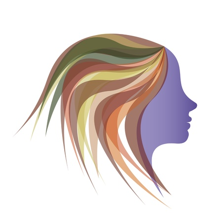 Beautiful girl with colorful hair Illustration