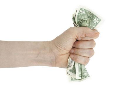 Hand and crumpled money