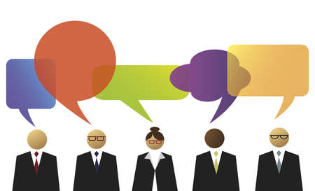 opinion: Business people with speech balloons Illustration