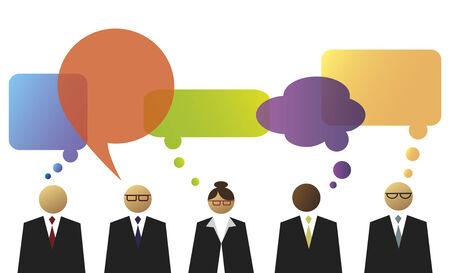 Business people with speech and thinking balloons