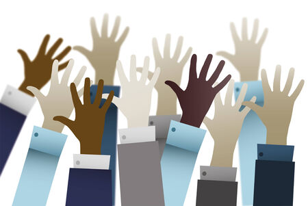 praise hands: Businessmen hands up