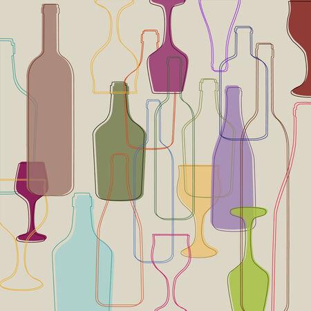 Bottles and wine glasses
