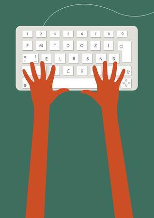 Hands on keyboard Vector
