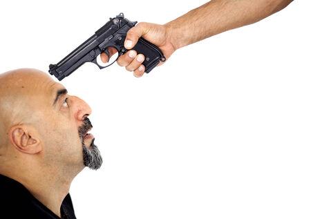 hand gun: A man with the gun his head Stock Photo