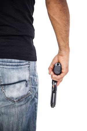 hand gun: Holding man a gun isolated on white Stock Photo