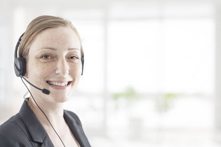 phone operator: Support phone operator in headset in white