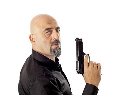 The man with gun on white