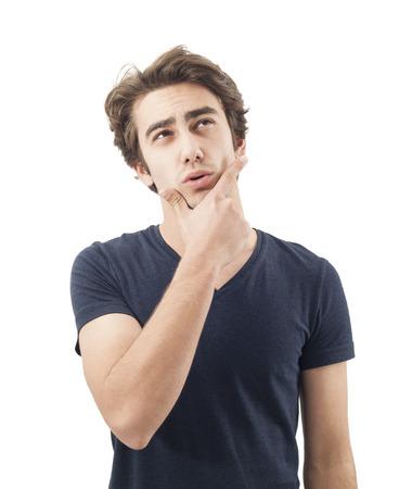persona pensando: Retrato de hombre de pensamiento Foto de archivo