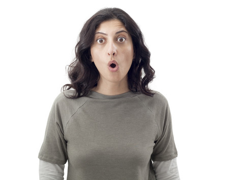 frightened: Surprised young woman Stock Photo