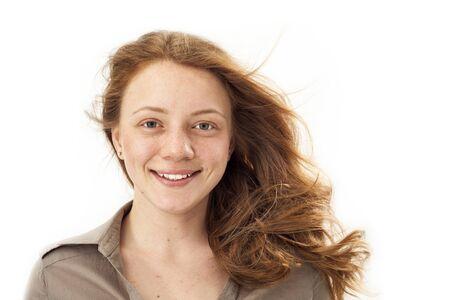 closeup portrait: Portrait of young blond woman