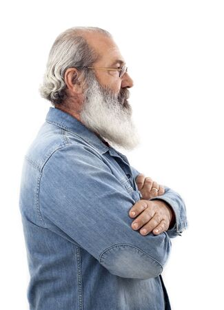 white beard: Senior with full white beard Stock Photo