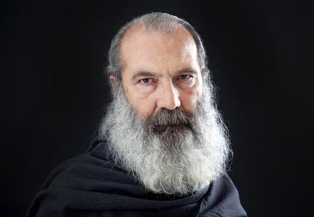 old man beard: Senior with full white beard Stock Photo