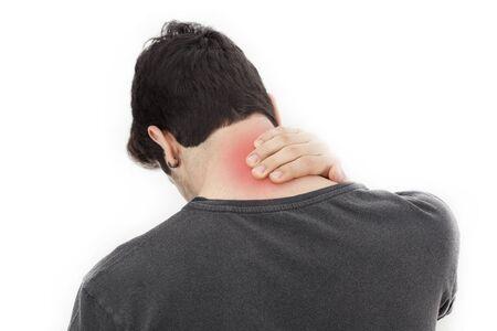 epaule douleur: Jeune homme avec douleur dans le cou