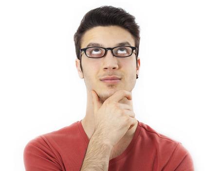 hombre pensando: Retrato de hombre de pensamiento Foto de archivo