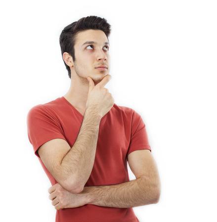 persona pensando: Retrato del hombre de pensamiento joven