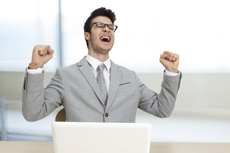 man shouting: Successful businessman in office