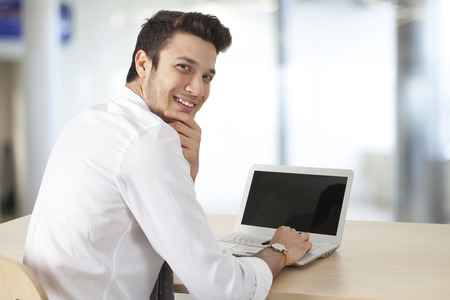 looking at computer: Businessman working computer in office