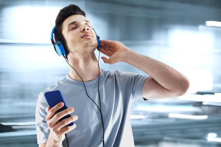 music listening: Listening music Stock Photo
