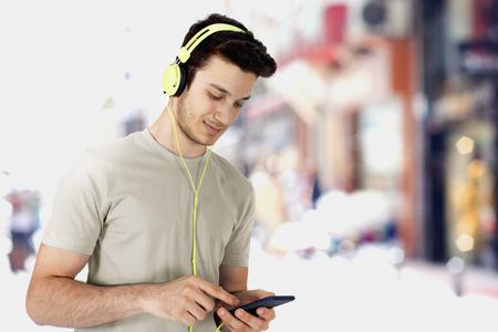 to hear: Listening music Stock Photo