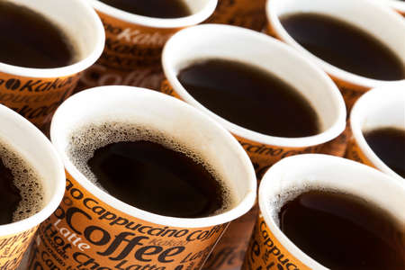 cups of coffee: Disposable coffee cups