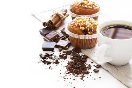 magdalenas: Pasteles Muffin con café