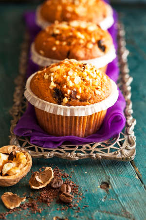 silver tray: Muffin cakes in silver tray