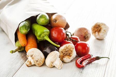 paper bag: Vegetables in paper bag