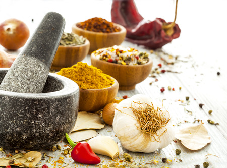 dry stone: Assorted spices Stock Photo