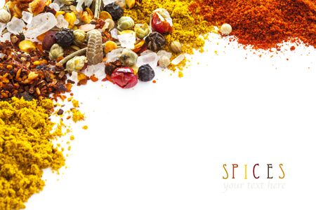 on a white background: Assorted spices on white background Stock Photo