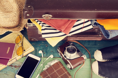 packing: Holiday suitcase Stock Photo