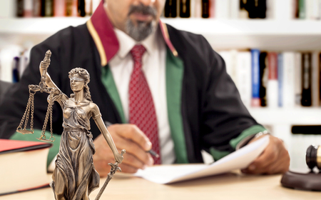 Judge in courtroom Stock Photo