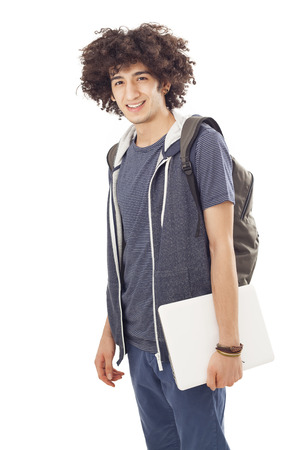 happy teenagers: Student young man Stock Photo