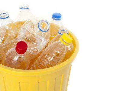 water bottles: Plastic water bottles in trash bin