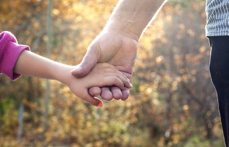 father daughter: Father and daughter holding hand by hand