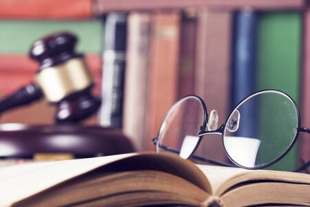 judicature: Law concept, gavel, glasses and books