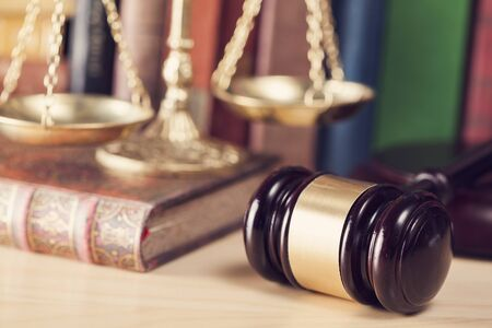 Law concept, gavel, scale and books Stock Photo