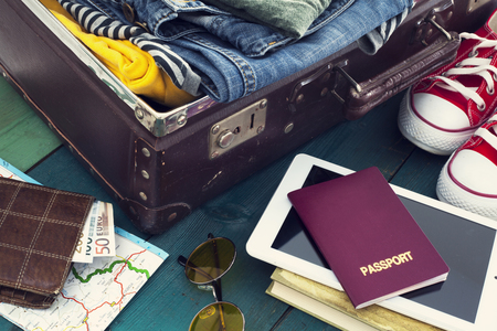 preparation: Holiday suitcase Stock Photo