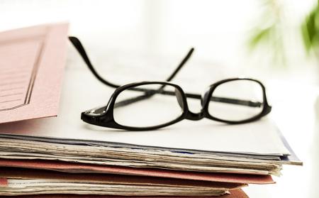 registry: Business file and eyeglasses