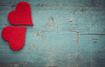 Valentines day hearts on wooden background Standard-Bild